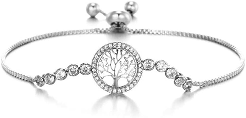 MixiuEuro Women Girls CZ Bracelets, Platinum Plated Silver CZ Cubic Zirconia Round Circle Life Tree Bracelets Women Girls Jewellery