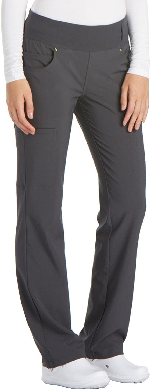 CHEROKEE iflex Mid Rise Straight Leg Pull-on Pant, CK002, 5XL, Pewter
