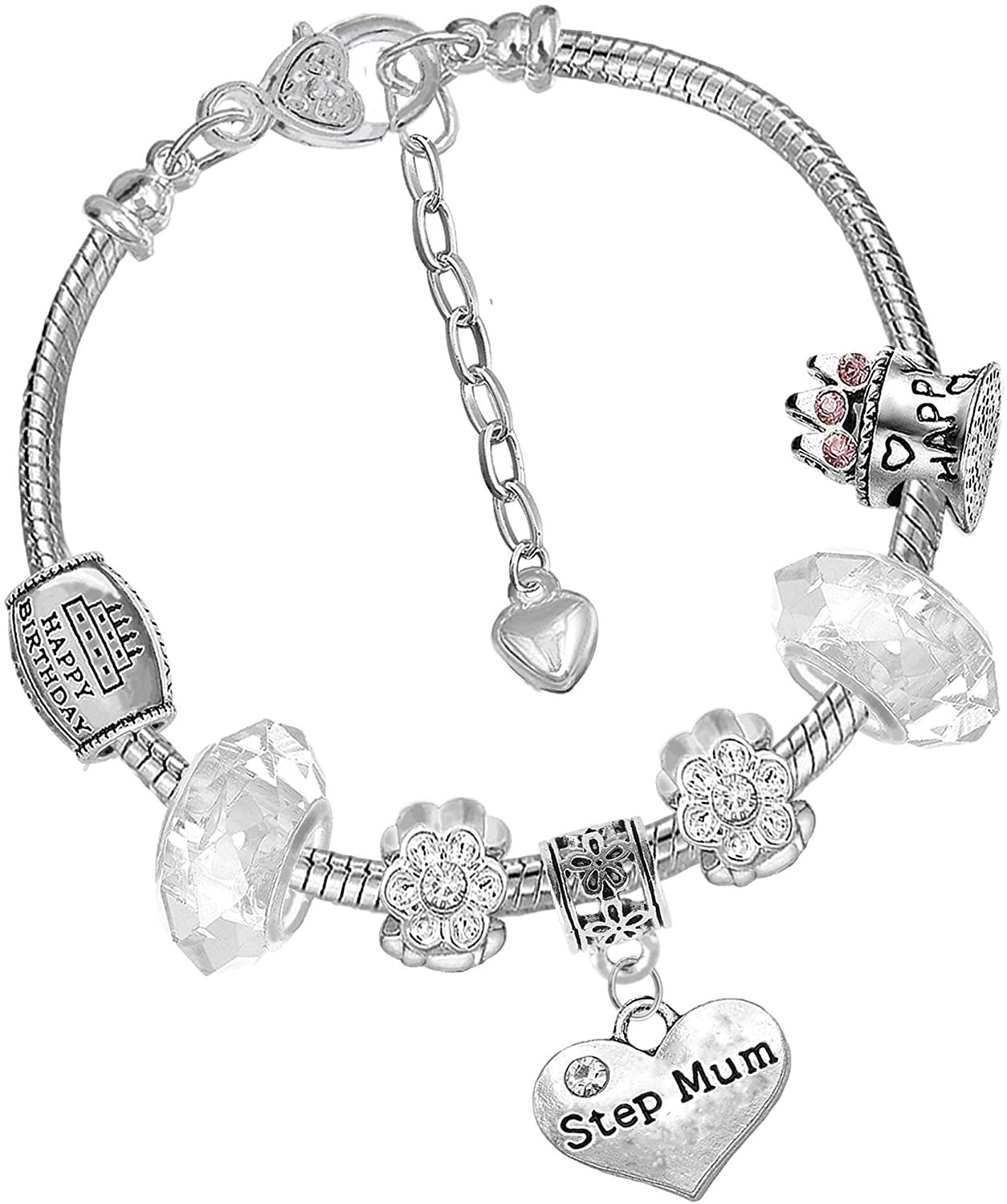 Mothers Day Step Mum Purple Crystal Pandora Style Bracelet with Charms Gift Box