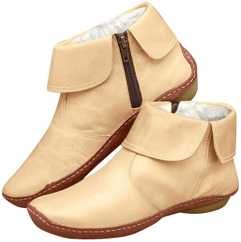 Vdaye New Arch Support Boots Womens Retro Leather Flats Fur Lined Comfortable Shoes Fashion Side Zipper Platform Booties