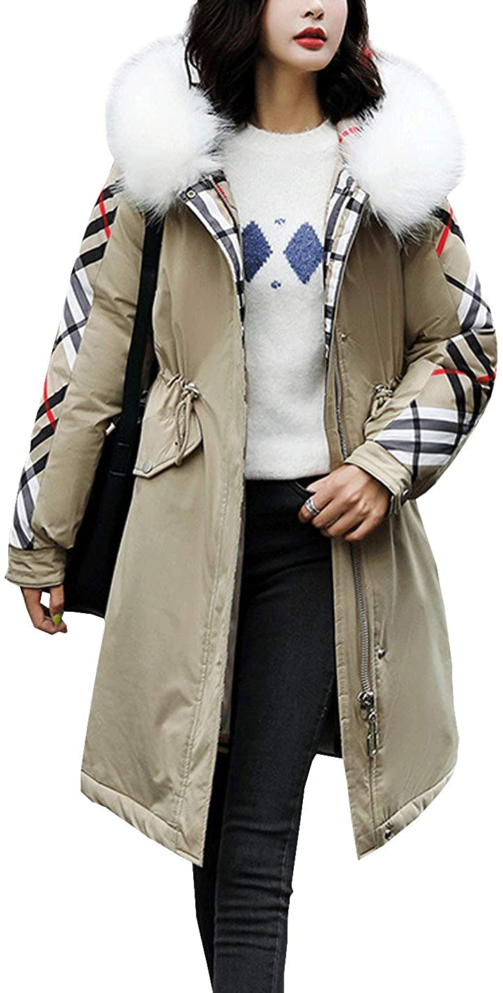 D.B.M Womens Fashion Mid-Length Windproof Hooded Padded Parka Cotton Jacket