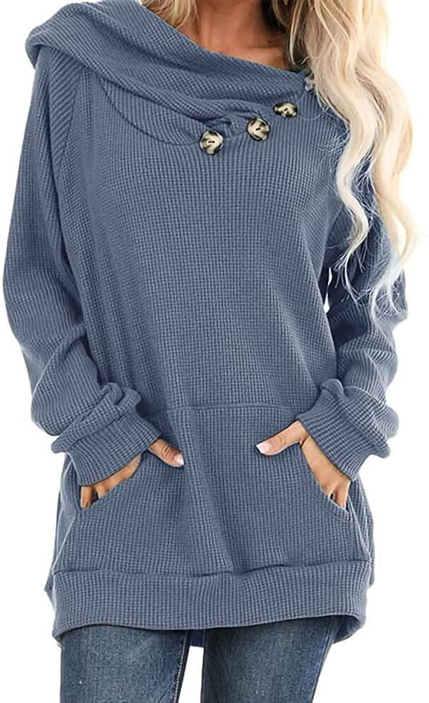 TARSE Womens Button Sweatshirts Long Sleeve Waffle Knit Hoodies Tops with Pocket