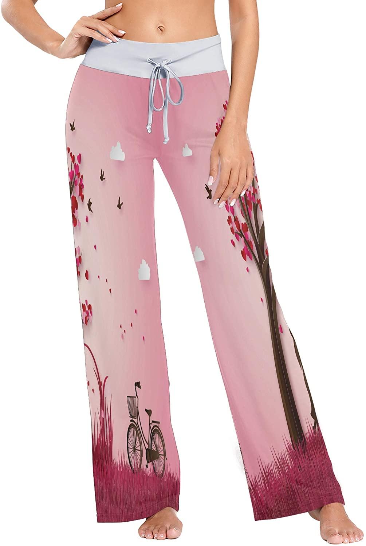nobrand Womens Pajama Lounge Pants Valentine Lovers Under The Peach Tree Wide Leg Casual Palazzo Pj Sleep Pants Girls