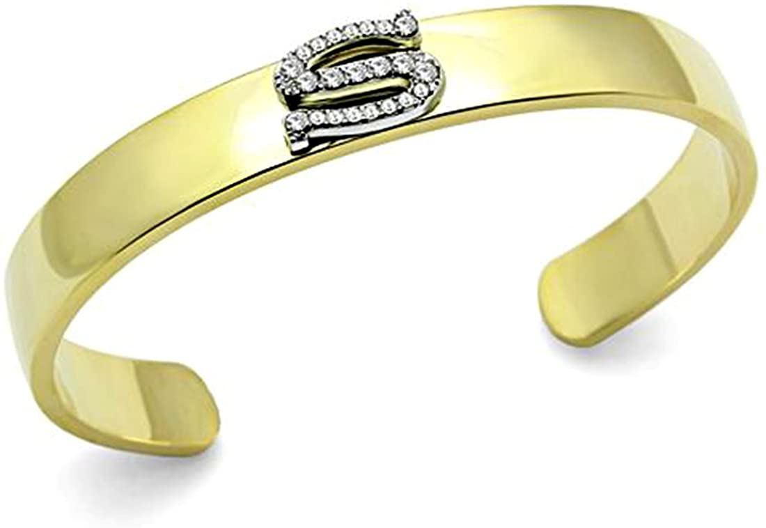 Two Tone Gold & Silver Bangle Cuff Bracelet, Letter S