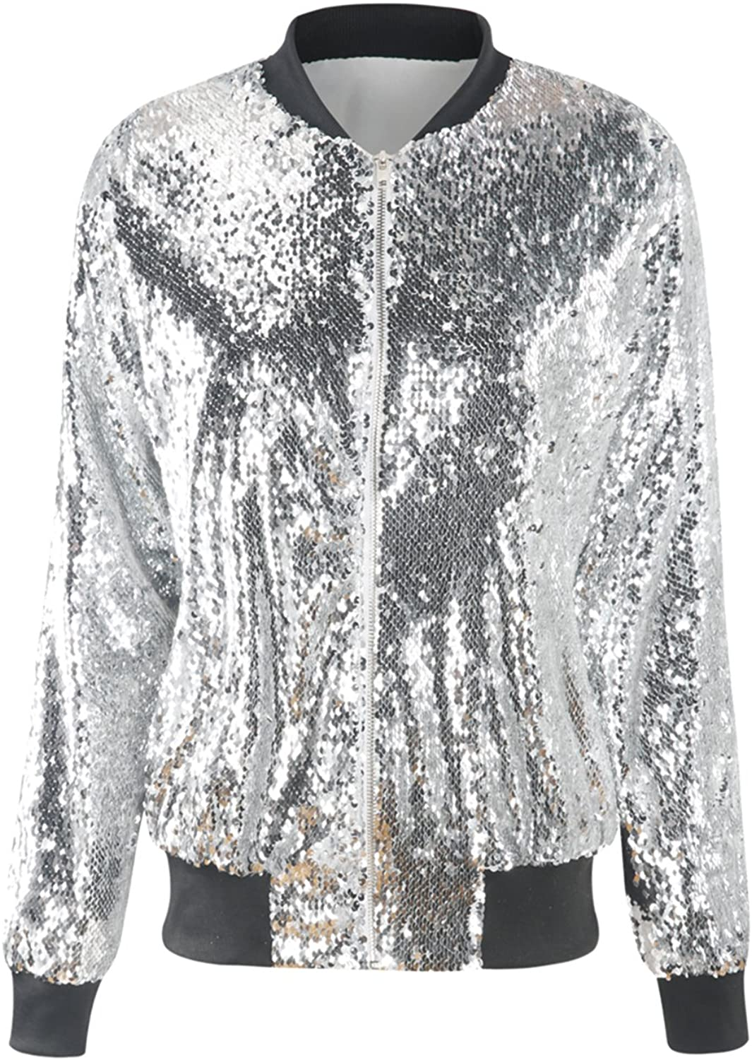 hodoyi Womens Sparkly Sequin Lightweight Long Sleeve Outwear Bomber Jacket