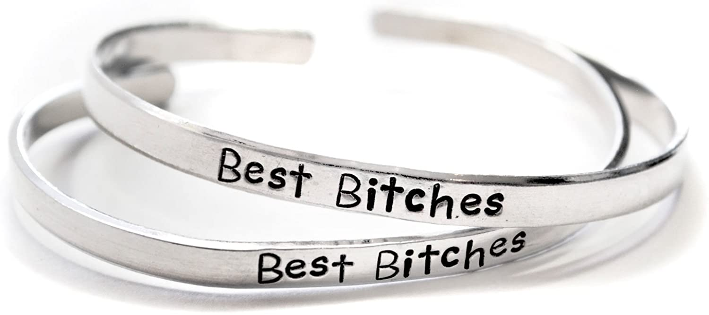 Foxwise Best Bitches - Hand Stamped Aluminum Friendship Bracelet Pair