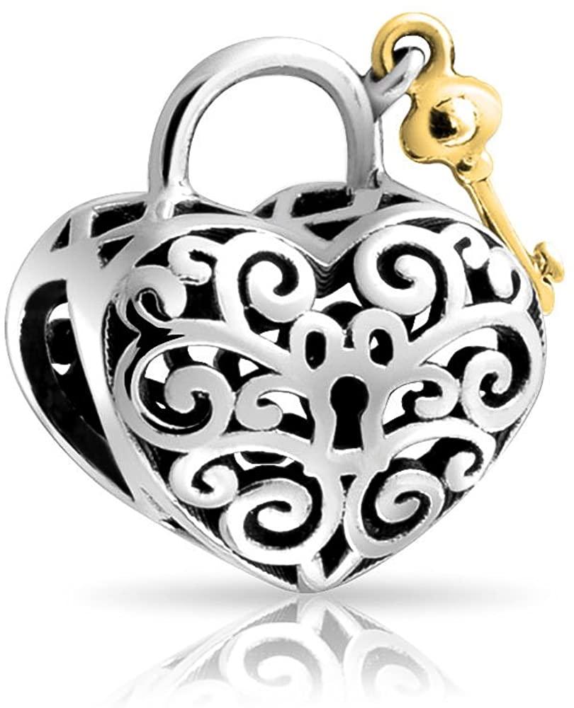 Lovers Filigree Lock Key Heart Spacer Dangle Charm Bead For Women Two Tone 925 Sterling Silver Fits European Bracelet