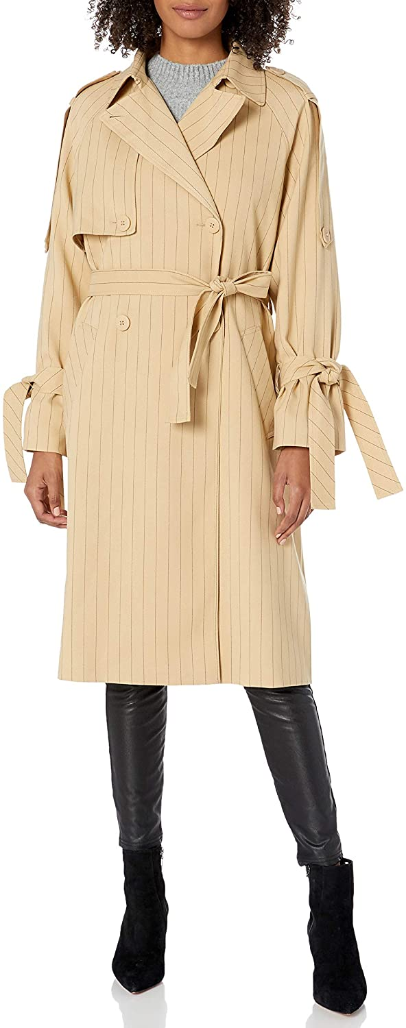 A|X Armani Exchange Women's Pinstriped Notched Collar Trench Coat
