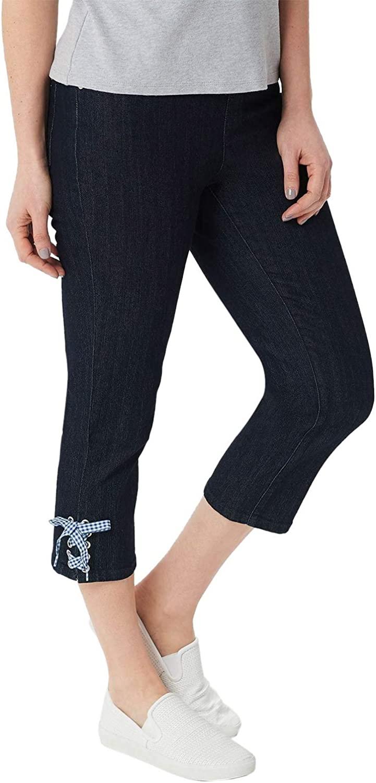 Denim & Co. Womens Perfect Denim Waist Slim Crop Pants 10 Dark Indigo A349213