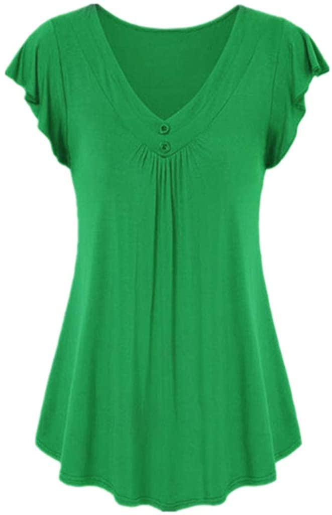 iLUGU Womens Fashion Casual Sexy Summer Holiday Solid Color Short Sleeve Vacation V-Neck Comfy Flowy Shirt Cotton V Neck