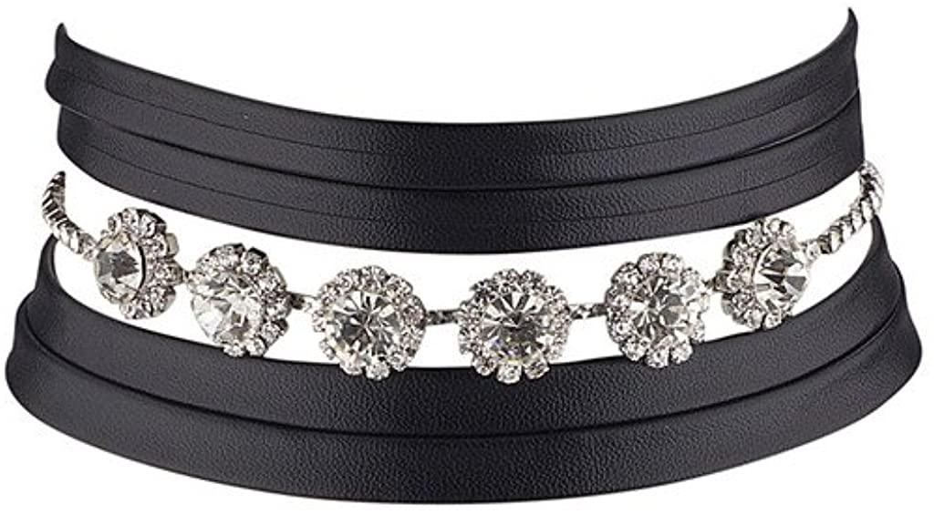 Lux Accessories Crystal Rhinestone Flowers Black Pu Leather Wrap Choker Necklace