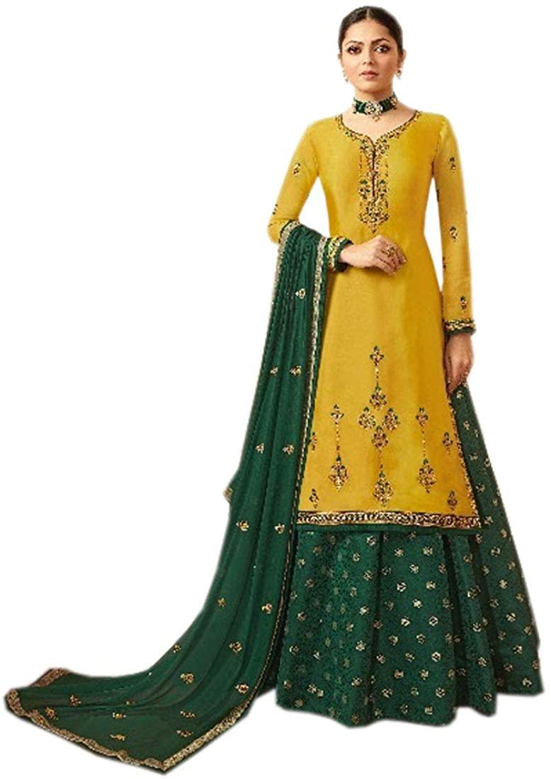 SHRI BALAJI SILK & COTTON SAREE EMPORIUM Yellow Satin Jacquard Muslim Designer Skirt Salwar Kameez Indian Women Suit 9605