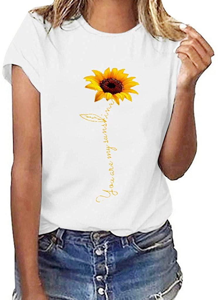 Women Plus Size Sunflower Print Short Sleeved T-Shirt Blouse Tops - Sunflower Print Short Sleeve