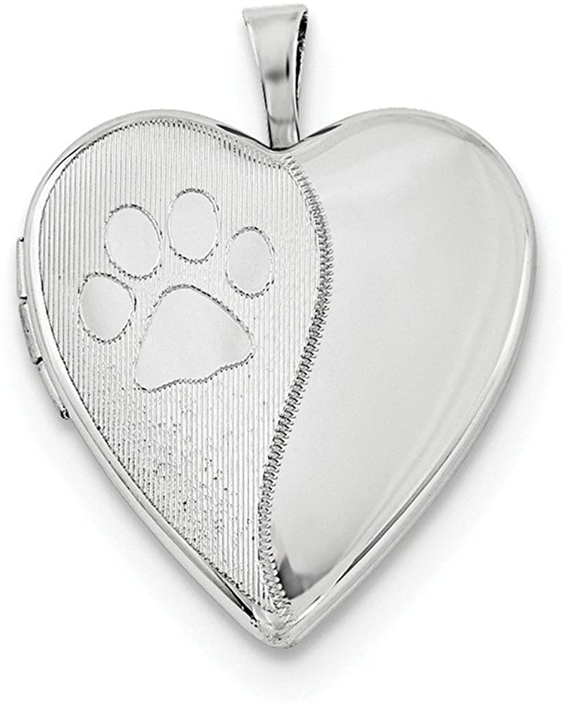 925 Sterling Silver 20mm Satin and Polished Dog Cat Pet Paw Prints Love Heart Photo Locket Pendant Necklace Jewelry Gifts for Women