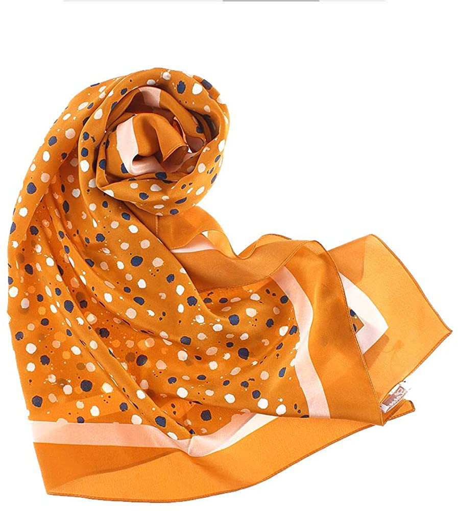 YS·AU 100 silk Scarf,Stoles for Women Lightweight Fashion Floral Neck Wear Scarf