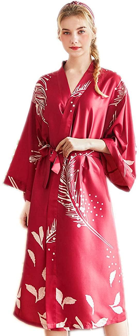 Women's Sleepwear Premium Pattern Silk V-Neck Kimono Bride Bridesmaid Bathrobe Lingerie