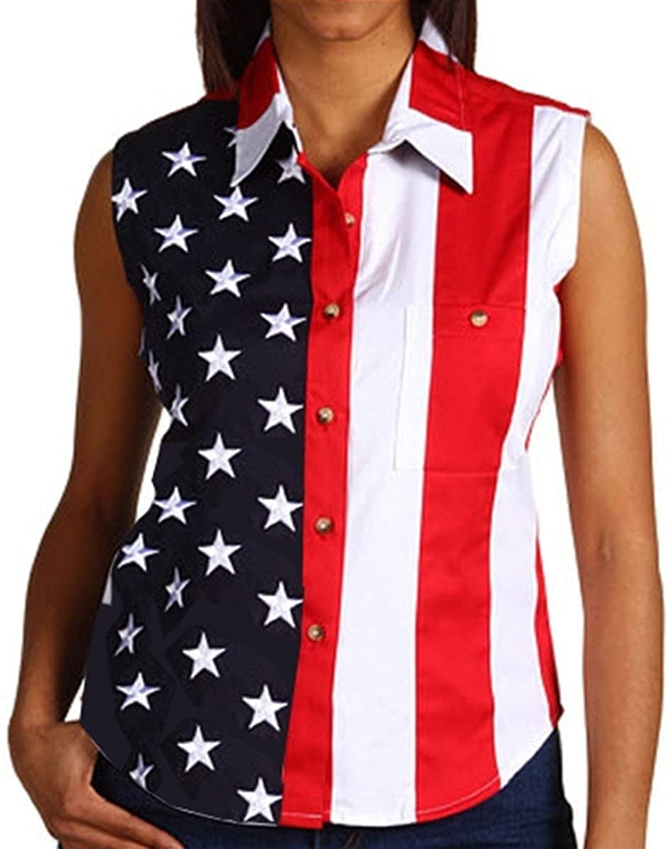 Woven American Flag Sleeveless Flag Stars Womens Polo Shirt