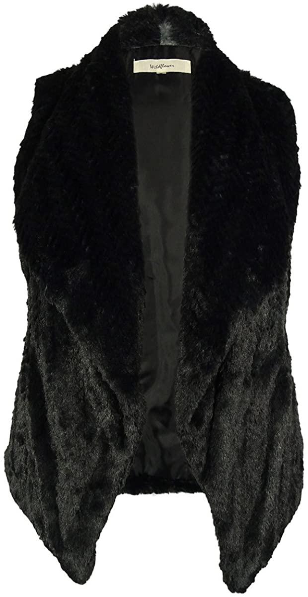 Faux Fur Vest (Medium, BlackGrey)