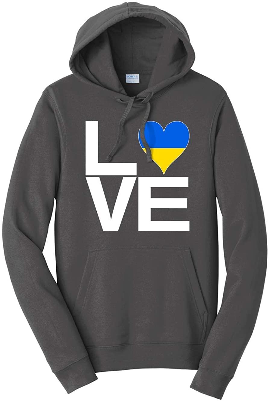 Tenacitee Unisex Love Block Ukraine Heart Hooded Sweatshirt