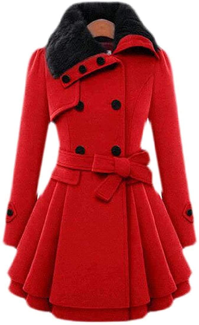 Wndxfhdscd Women's Wool Blend Trench Coat Lapel Wrap Swing Winter Overcoat Jacket