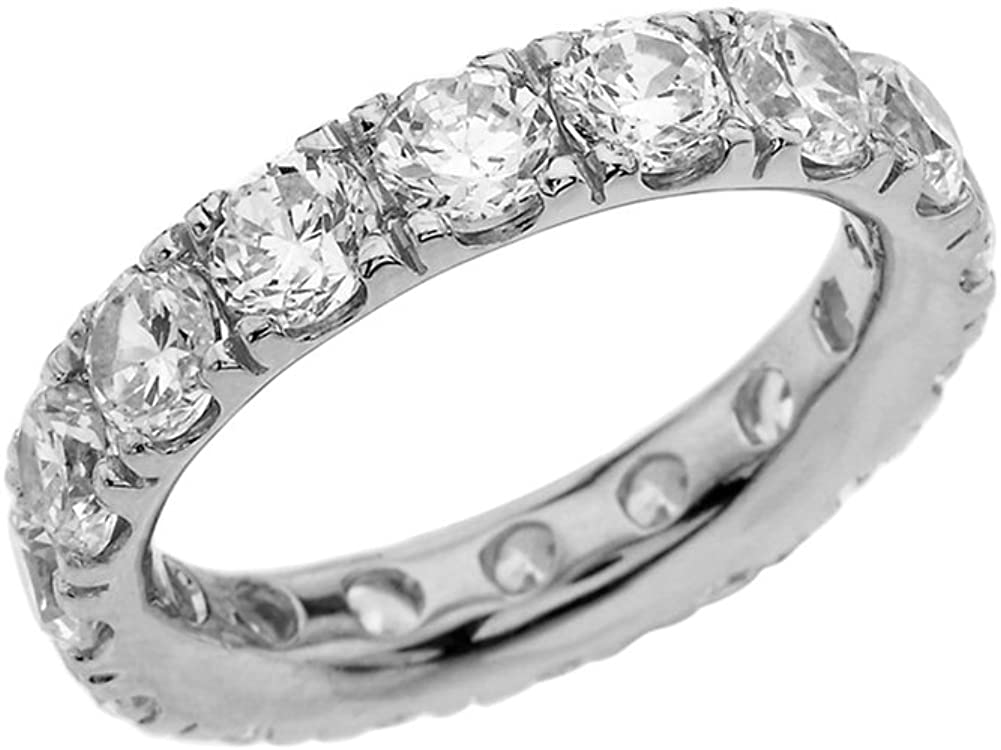 Modern Contemporary Rings Sterling Silver 4mm April Birthstone Cubic Zirconia Comfort Fit Eternity Band