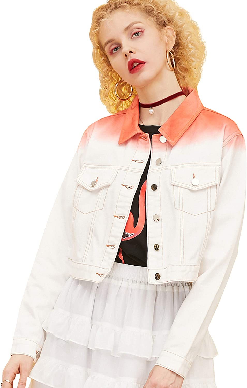 Elf Sack Women Loose Bomber Denim Jacket, Long Sleeves White Orange Gradient Color Basic Jean Jacket Button Down