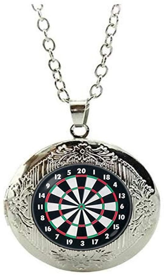 Dart Locket Necklace Dart Locket Necklace Dartboard Jewelry