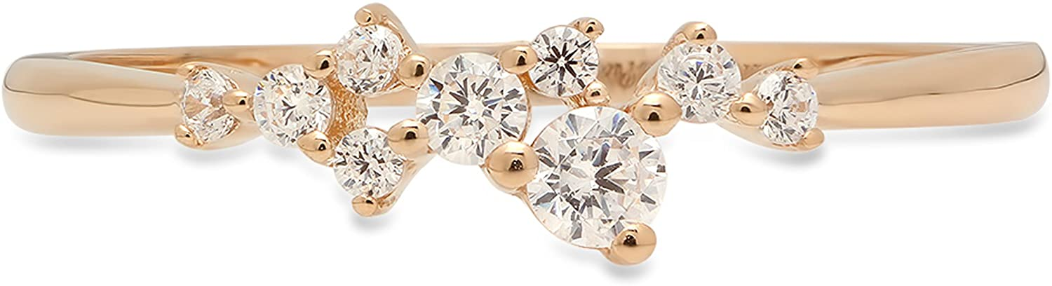 Clara Pucci 0.38 ct Round Cut Cluster Pyramid Bridal Anniversary Wedding Promise Band 14K Yellow Gold