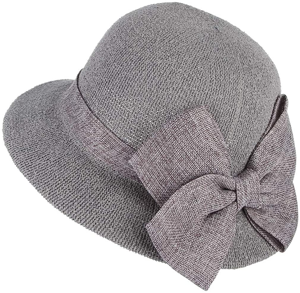 Gemvie Women Ladies Big Bow Sun Protection Cloche Bucket Hat Travel Outdoor Wide Brim Bucket Sun Hat