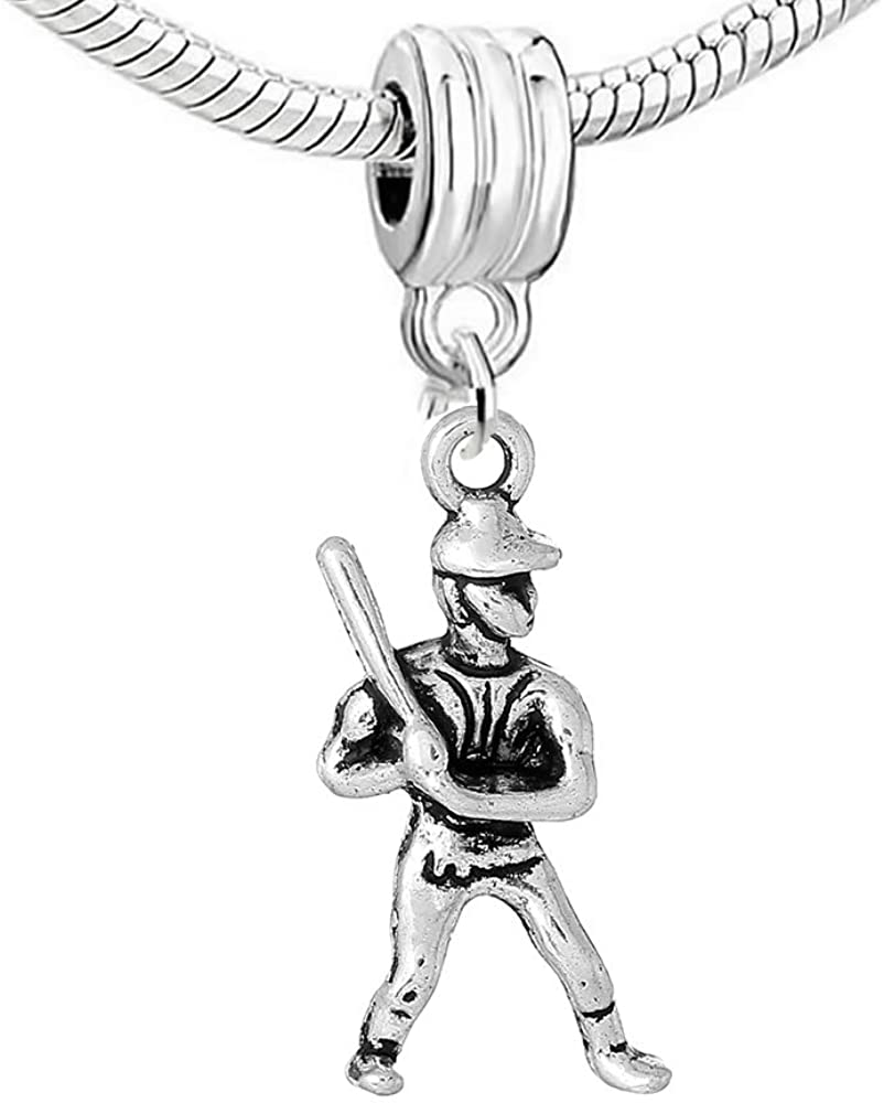 Sexy Sparkles Baseball Player Charm Bead Compatible for Most European Snake Chain Bracelets