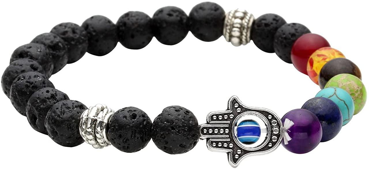 Jovivi 7 Chakras Gemstone Bracelet Lava Stone Essential Oil Diffuser Reiki Healing Balancing Round Beads