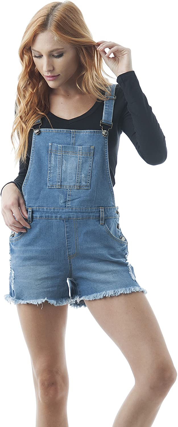Hollywood Star Fashion Women's Destroyed Short Overalls Denim Jean Distressed Ripped