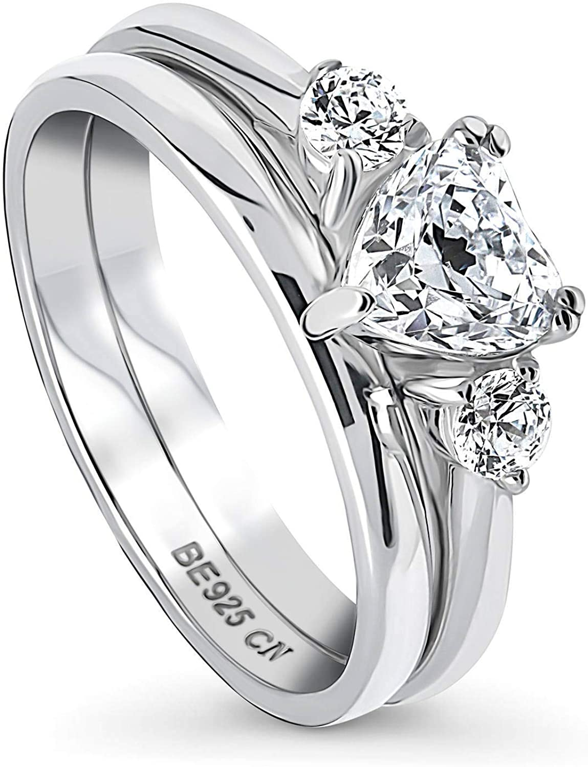 BERRICLE Rhodium Plated Sterling Silver 3-Stone Anniversary Engagement Wedding Ring Set Made with Swarovski Zirconia Heart Shaped 0.96 CTW