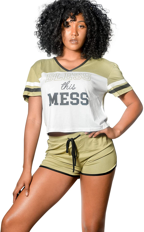 Lay-z Chic Womens Pajamas Sexy Ultras Soft 2 PC Set Short Sleeve Sleepwear Nightwear Lounge Sets