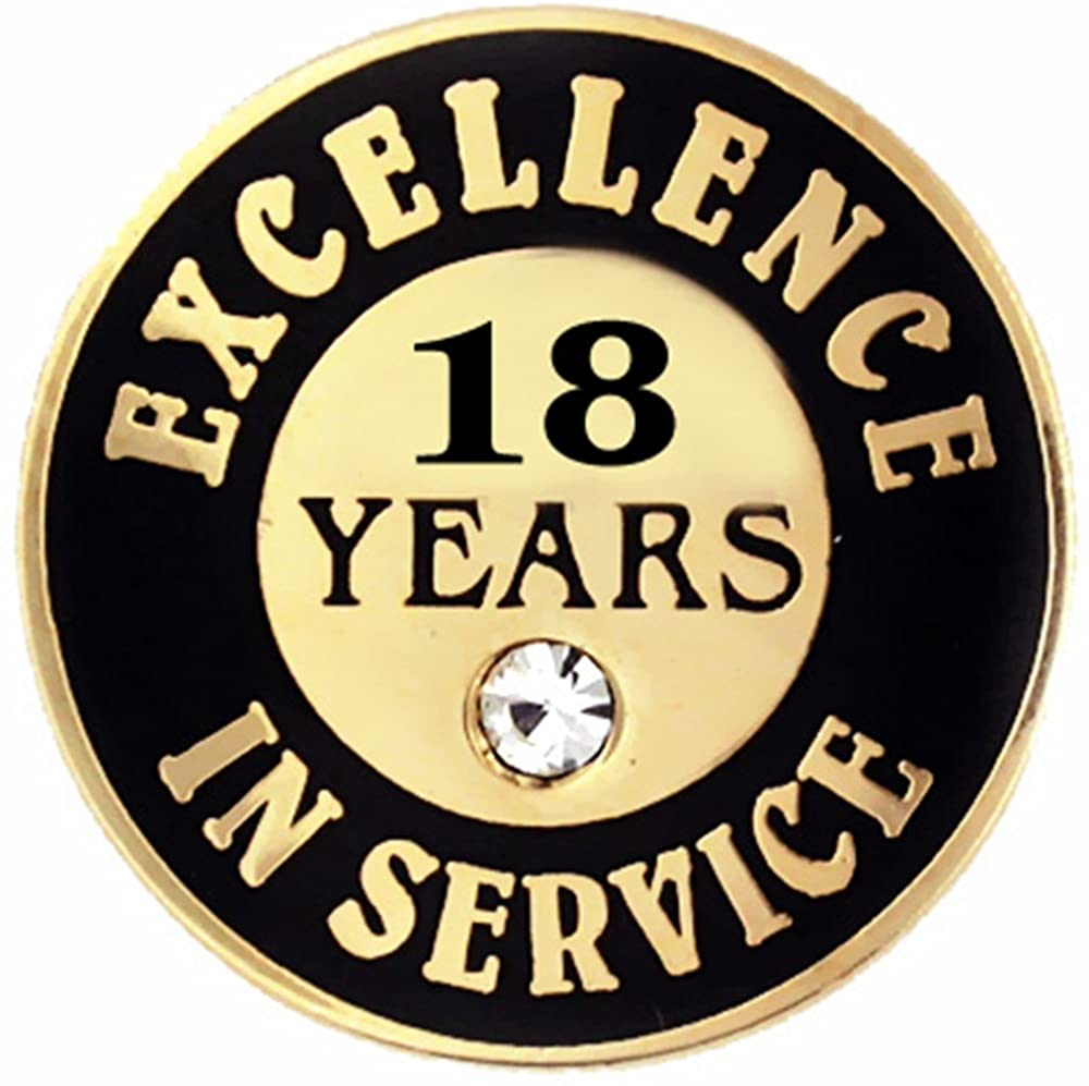 PinMart Gold Plated Excellence in Service 18 Year Award Lapel Pin