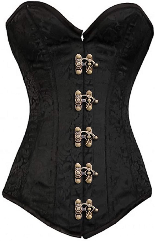 Black Corset Longline Overbust Bustier Brocade Plus Size Gothic Antique Clasp