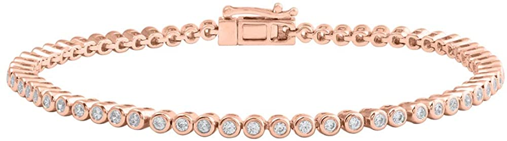 1.00 Carat (ctw) Bezel Set Round Diamond Ladies Tennis Link Bracelet in 14K Gold (7.5 Inch)