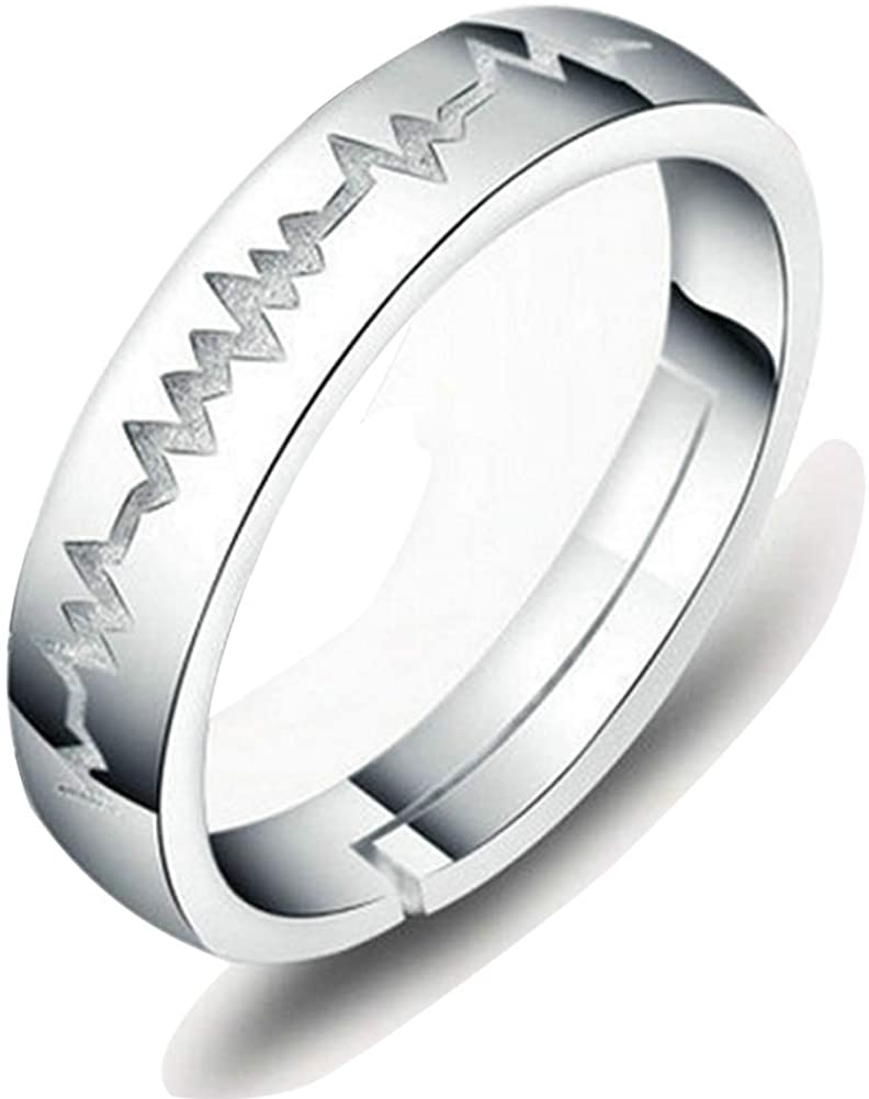 TGLS Adjustable ECG Couple Heartbeat Love Rings 925 Sterling Silver Wedding Engagement Rings 925 Sterling Silver His or Hers Promise Ring