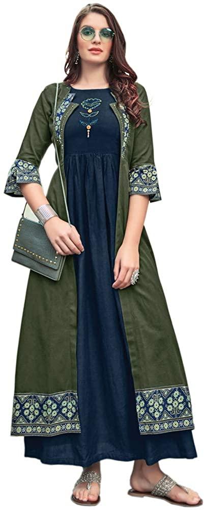 TROYALHANDWORK Rayon Long Kurtis with Ruby Silk Shrug - for Women (Blue & Gray Green, XXXL)