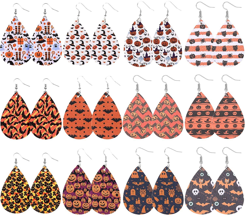 Halloween Leather Earrings for Women Girls Double-sided Faux Leather Teardrop Earrings Lightweight Bat Pumpkin Skull Print Drop Earrings Set