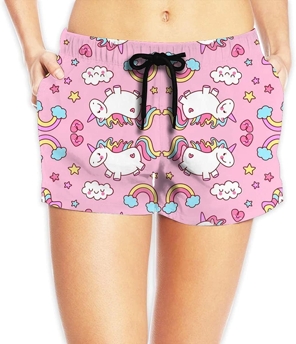 Fat Unicorn Pink Women's Female Beach Pants Summer Beachwear Board Shorts