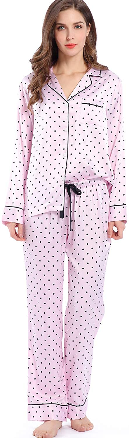 Serenedelicacy Women's Silky Satin Pajamas, Button Up Long Sleeve PJ Set Sleepwear Loungewear