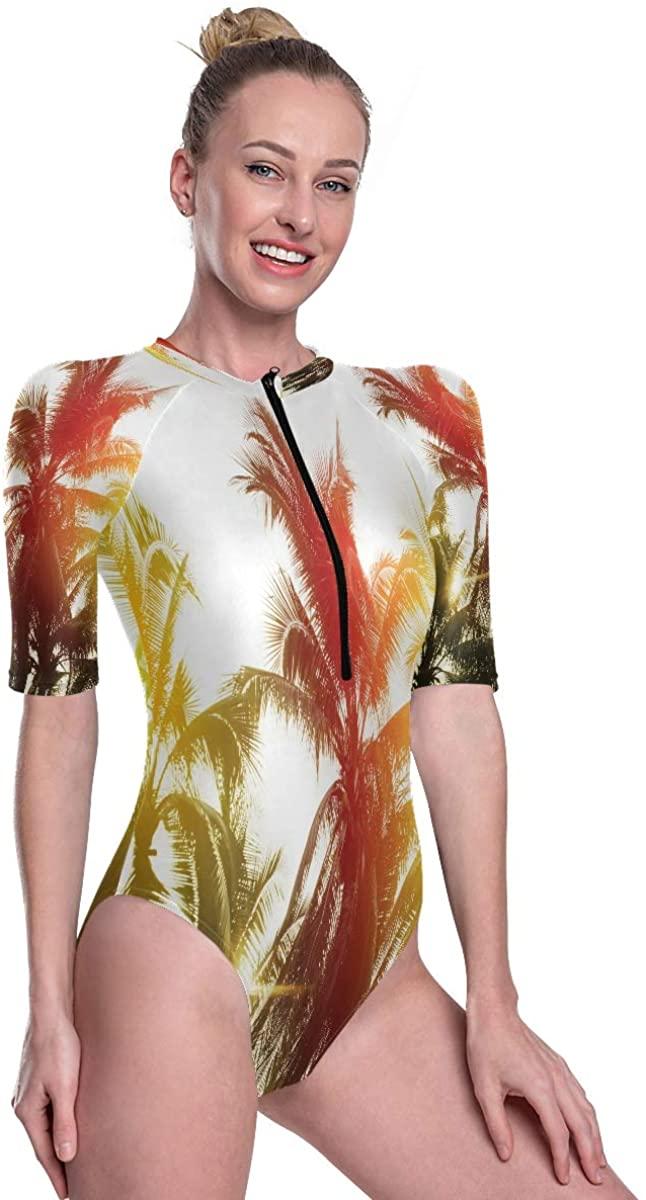Women's One Piece Short Sleeve Rashguard Surf Swimsuit Tropical Palm Trees On Sky Background Bikini