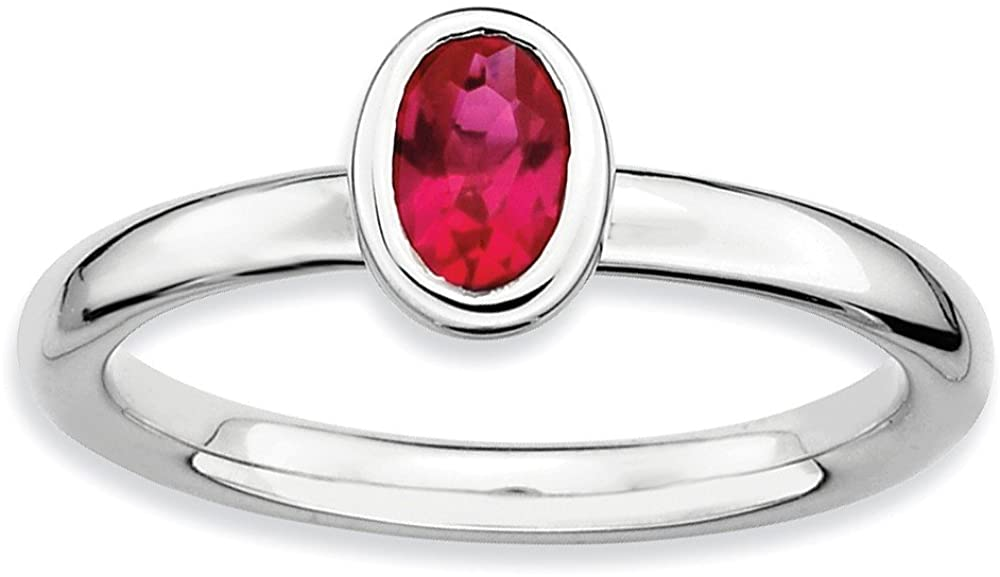 Jewels By Lux Sterling Silver Stackable Expressions Oval Created Ruby Ring