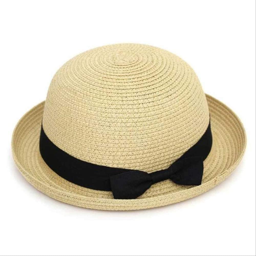 Women Summer Straw hat Classic Black Girdle Panama Sunhats Jazz Hat Female Beach Sun Cap Dome Bow Beige