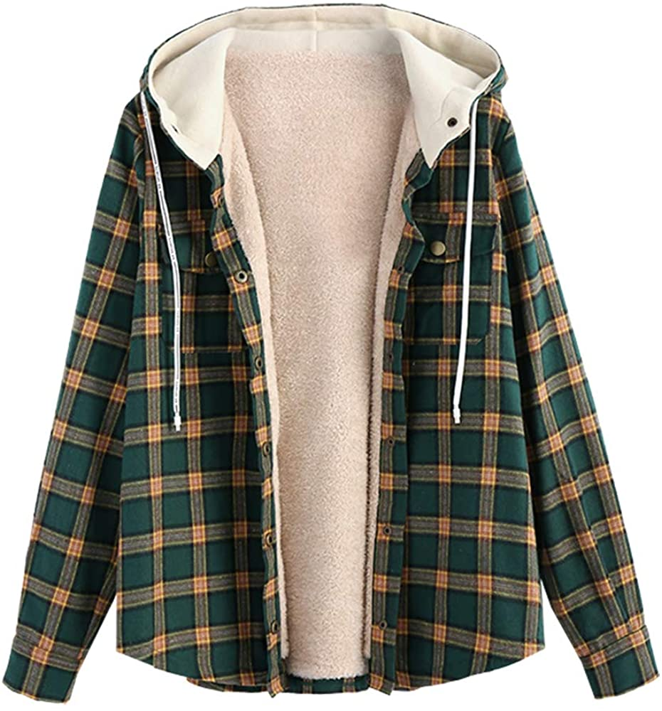 ZAFUL Women's Plaid Fluffy Fleece Lined Long Sleeve Drawstring Hooded Jacket