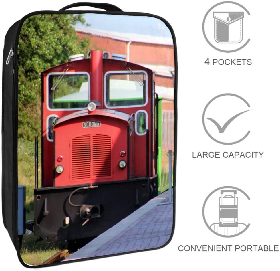 Zuyoon Red Locomotive Large Travel Shoes Bag Pouch Waterproof dustproof Portable Storage Easy to Carry for Women Men and Children 9x12x6 in