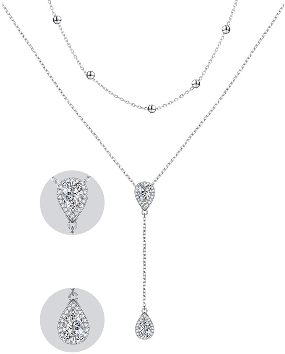 925 sterling Silver Cubic Zirconia Star Pendant Necklace for Women Girls
