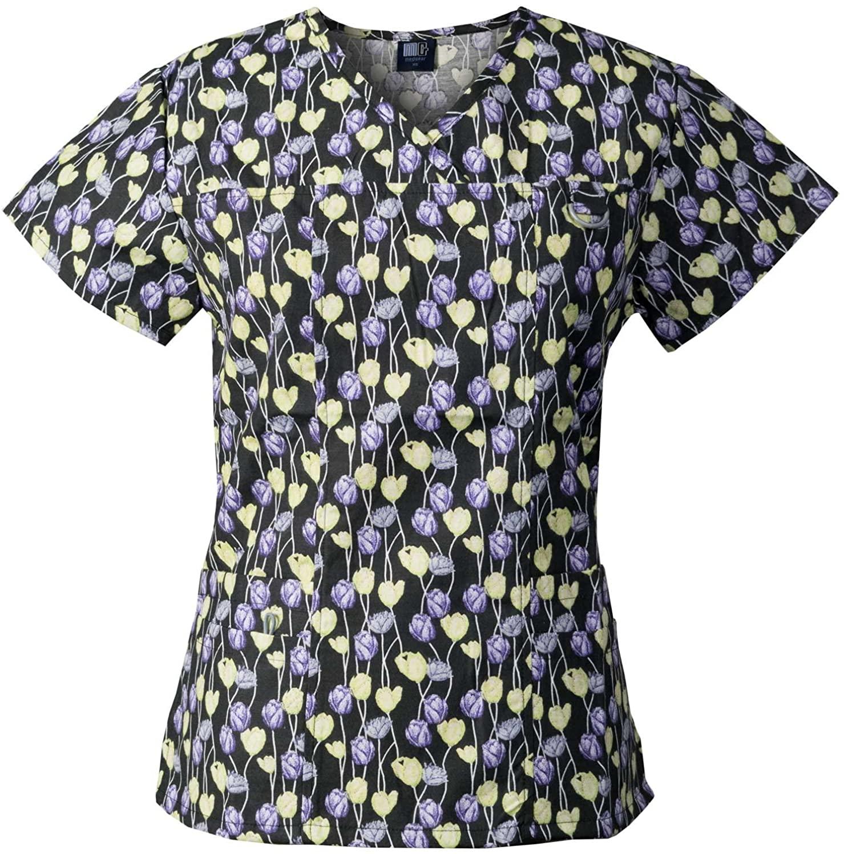 Medgear Women's Printed Scrub Top, ID Loop & 4 Pockets Medical Uniform SPUR