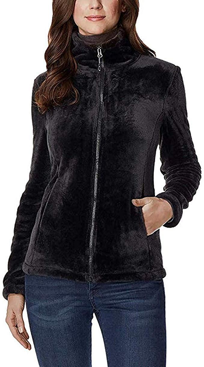 32 DEGREES Womens Plush Luxe Fur Super Soft Full Zip Jacket Outwear (Black, Large)